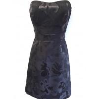 Karen Millen Metallic Jacquard Prom Dress Black