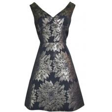 Karen Millen Floral Jacquard Dress Black Gold