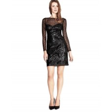 Karen Millen Leather Sequin Mesh Dress Black