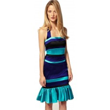 Karen Millen Blue Striped Halterneck Satin Dress