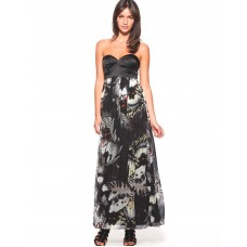 Karen Millen Butterfly Print Maxi Dress Black Multi