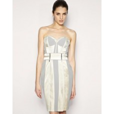Karen Millen Corset Pencil Dress Beige Champagne