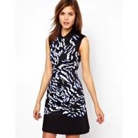 Karen Millen Feather Print Shirt Dress Black Multi