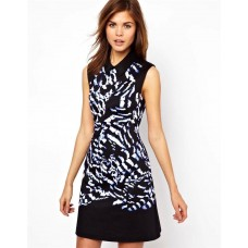Karen Millen Feather Print Shirt Dress Black Multi