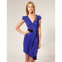Karen Millen Cupro Draped Dress Blue Black