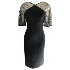 Karen Millen Dotted sleeves Woven Black Dress