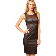 Karen Millen Double Layer Pencil Dress Black Mocha