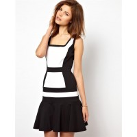 Karen Millen Colour Block Flippy Dress Black | White