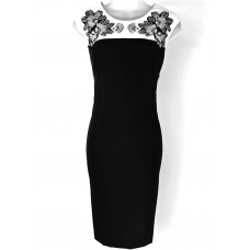 Karen Millen Flower Embroidery Pencil Dress Black White