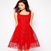 Karen Millen Embroidered Organza Full Skirt Dress Red