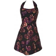 Karen Millen Jacquard Floral Halterneck Dress Black