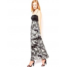 Karen Millen Fluid Print Maxi Dress Black Multi