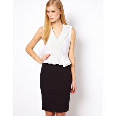 Karen Millen Broderie Pencil Dress Black White