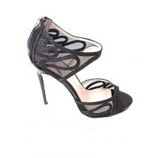 Karen Millen Black Glitter Sandals