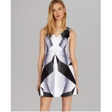 Karen Millen Graphic Deco Print Dress Grey Mulit