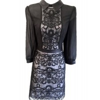 Karen Millen Graphic Lace Embroidery Shirt Dress Black