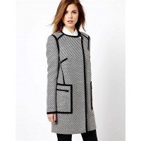 Karen Millen Graphic Tweed Pod Coat Black |White