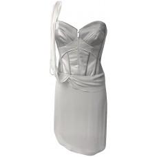 Karen Millen Silk Draped Corset Dress Grey