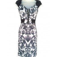 Karen Millen Graphic Print Dress Grey Black
