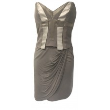 Karen Millen Jersey Draped Corset Dress Neutral