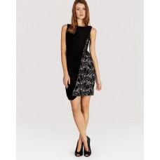 Karen Millen Lace and Jersey Dress Black
