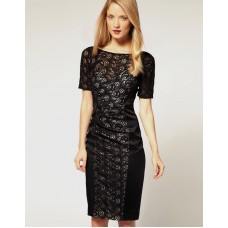 Karen Millen Lace and Satin Pencil Dress Black