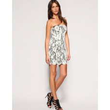 Karen Millen Lace Corset Dress Cream Black