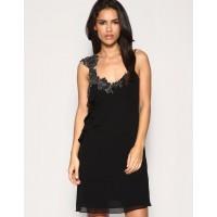 Karen Millen Lace Beaded Dress Black