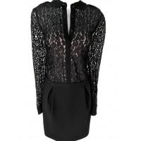 Karen Millen Leopard Lace Shirt Dress Black