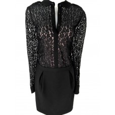 Karen Millen Leopard Lace Shirt Dress Black