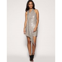Karen Millen Sequin Draped Dress Neutral