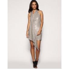 Karen Millen Sequin Draped Dress Neutral