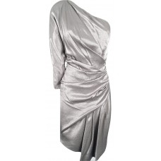 Karen Millen One Shoulder Draped Dress Pewter silver