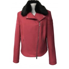 Karen Millen Wool Biker Jacket Pink with Black Fur Collar
