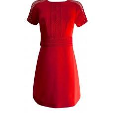 Karen Millen Red Lattice Braiding Dress