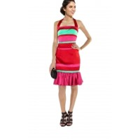 Karen Millen Red Striped Halterneck Dress