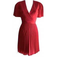 Karen Millen Laser Cut Out Pleated Red Dress
