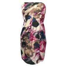 Karen Millen Strapless Rose Print Silk Dress Pink