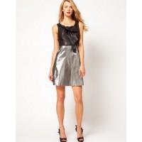Karen Millen 60s Metallic Sheer Bow Dress Pewter Silver