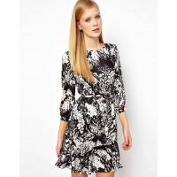 Karen Millen Fluid Print Bow Dress Black