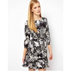 Karen Millen Fluid Print Bow Dress Black