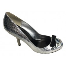 Karen Millen Leather Snake Court Shoes Silver