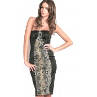 Karen Millen Snake Print Satin Dress Black
