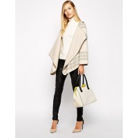 Karen Millen Soft Wrap Striped Cape Coat Cream | Grey