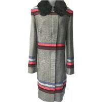 Karen Millen Statement Striped Coat Grey |Multi