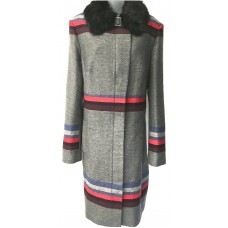 Karen Millen Statement Striped Coat Grey |Multi