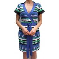 Karen Millen Graphic Striped Shirt Dress Blue