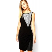 Karen Millen Printed Textured Jersey Dress Black
