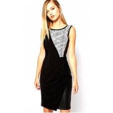 Karen Millen Printed Textured Jersey Dress Black