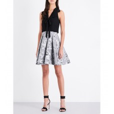 Karen Millen Full Skirted Jacquard Dress Silver Black